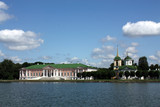 Kuskovo Estate. View of the ducal palace and palace church with poster