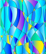 Stained glass texture, blue tone, background vector