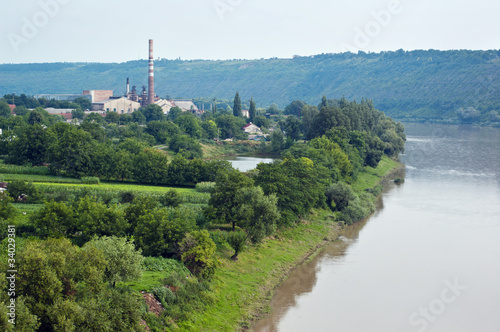Factory on the bank of river Dniester