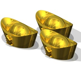Three Chinese Gold Ingots