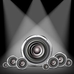 quality speaker on spotlight background