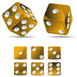 set of golden dices isolated on white background