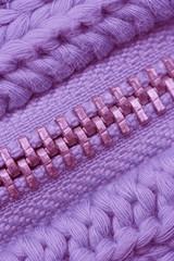 Macro of Closed Zipper on Sweater