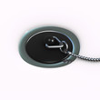 3d Plug in plughole, close up