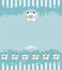 Papel convite com listras e gatinhos