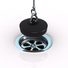 3d Plug hanging over plug hole close up