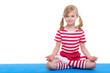 girl with eyes open practice yoga on