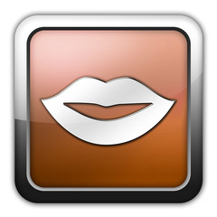 "Bronze Glossy Square Icon ""Mouth / Lips Symbol"""