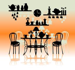 Retro kitchen silhouette