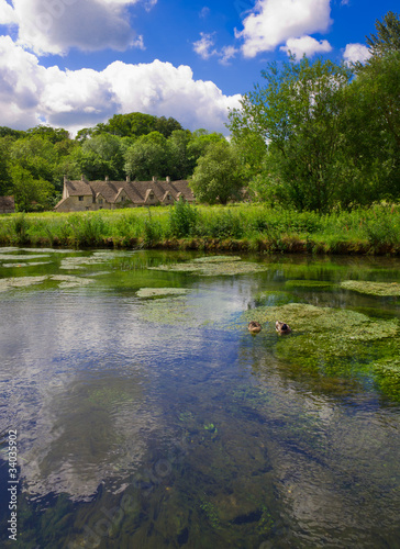Arlington Row in Bibury with River Coln, Cotswolds, UK