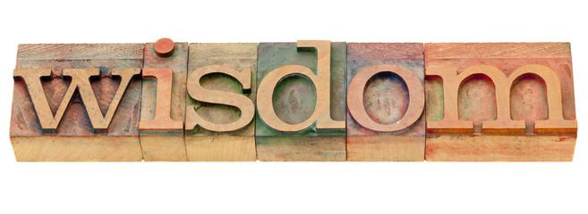 wisdom word in letterpress type