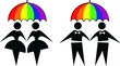 gay and lesbian under rainbow umbrella