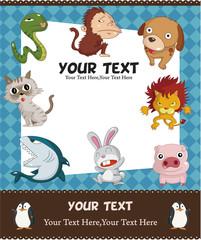 cartoon animal card.