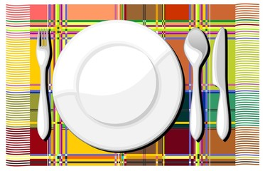 Piatto Posate e Tovaglia-Plate and Cutlery Background-Vector