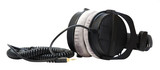 professional headphones black on a white background