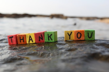 Thank you written with wood cubes, at a rocky beach