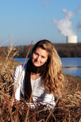 Girl and and atomic power plant