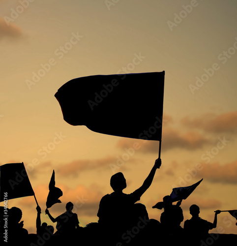 silhouette of protestors