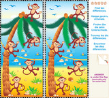 Find the differences visual puzzle - monkeys, beach, palm