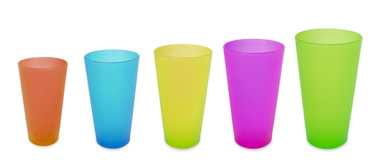 five plastic cups blue red green yellow