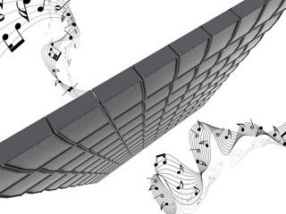 muro di amplificatori casse sonoro
