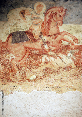 Antique wall fresco- St. George