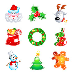 Colorful icons with traditional Christmas symbols