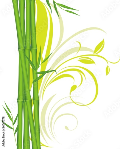Green bamboo with floral ornament