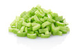 Celery pieces heap isolated on white, clipping path included