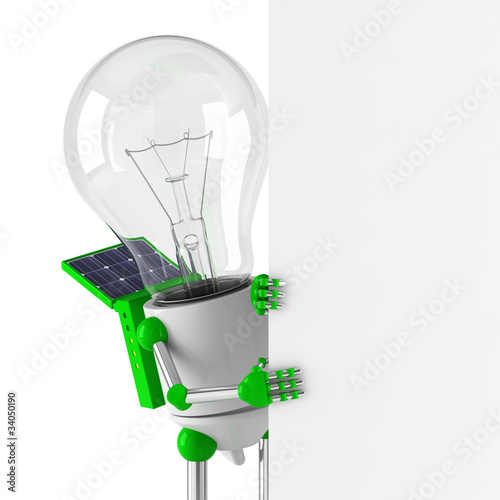 solar powered light bulb robot - blank billboard