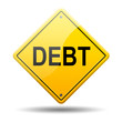 Señal amarilla texto DEBT