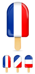classic france flag ice cream bar or ice pop isolated on white