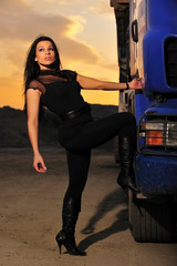 brunette, driver, evening, highway, logistic, truck