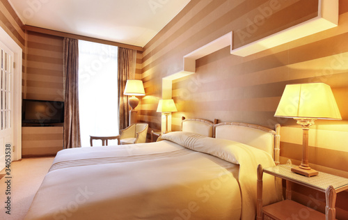 Leinwanddruck Bild camera da letto di hotel