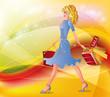 Autumn shopping girl. vector illustration