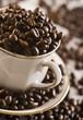 Ziarna kawy z filiżanką