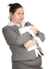 young fat woman in grey suit  with blank card