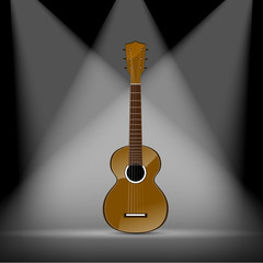 classical acoustic guitar on spotlight background