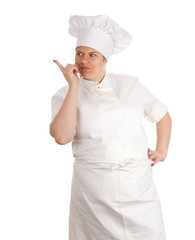 pointing fat female cook in white uniform and hat, series