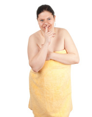 fat, overweight woman in towel keeping silence, series