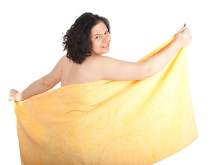 fat, overweight black hair woman in yellow towel, series