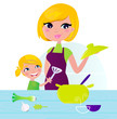 Mother with child cooking healthy food in kitchen. Vector
