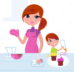 Happy mother with her son cooking in the kitchen. Vector