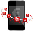 Smartphone 6 Red Icons Mobile Banking Euro