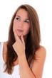 Attraktive junge Frau überdenkt eine Entscheidung