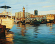 old port of barcelona, painting on a canvas oil