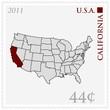 USA-Karte als Briefmarke, Kalifornien