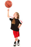 Proud Girl Child Basketball Player Spinning Ball on Finger