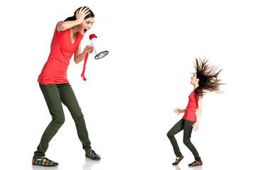 Female shouting at herself  through loudspeaker