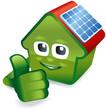 Haus mit Solarzelle zeigt Top-Daumen